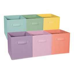 Sorbus Storage Boxes Pastel - Pastel Set Foldable Storage Cube Basket Bin - Set of Six | Zulily
