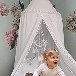 Crib Bed Canopy for Girls Bed with Pom Pom, Cotton Dome Mosquito Net for Baby, Kids Indoor Outdoo...   Amazon (US)