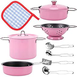 Liberty Imports Kids Play Kitchen Toys Pretend Cooking Pink Stainless Steel Pots and Pans Metal K...   Amazon (US)