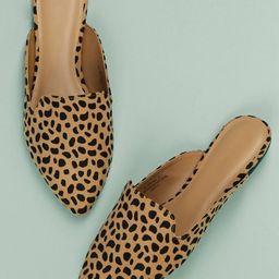 Cheetah Print Pointy Toe Flat Mules | SHEIN