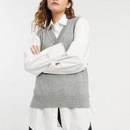 New Look v neck knitted vest in grey | ASOS (Global)