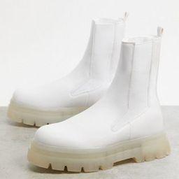 Bershka chunky Chelsea boot in white | ASOS (Global)