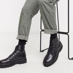 ASOS DESIGN Vegan lace up boot in black faux leather with raised chunky sole | ASOS (Global)