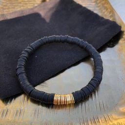 Gold Bar Bracelet, gold plated accent 6mm Heishi Bead Bracelets, Custom Bracelets, Personalized J...   Etsy (US)