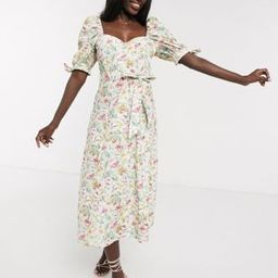 ASOS DESIGN cotton poplin puff sleeve midi skater dress in ditsy floral with rhinestone buttons | ASOS (Global)