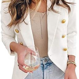 Asvivid Womens Casual Pocketed Office Blazers Draped Open Front Cardigans Jacket Work Suit | Amazon (US)