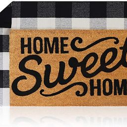 Sierra Concepts Pure Coco Coir Front Door Welcome Mat Outdoor Rug 30 x 17 + Buffalo Plaid Rug Che... | Amazon (US)