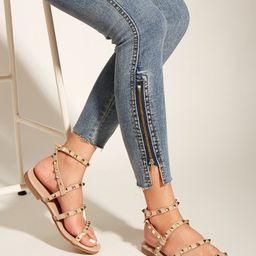 Sandalen mit Nieten Dekor und Knöchelriemen | SHEIN