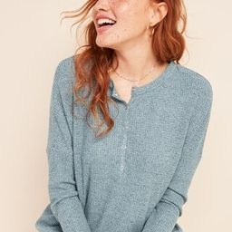 Relaxed Cozy Waffle-Knit Henley Tunic Top for Women | Old Navy (US)