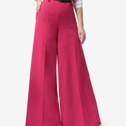 Lila Kass Women's Casual Pants Crimson - Hot Pink Pleated Wide-Leg Pants - Women & Plus   Zulily