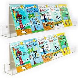 NIUBEE 2 -Packs Kids Acrylic Floating Bookshelf 36 Inch, Clear Bathroom Wall Floating Shelves, In... | Amazon (US)