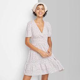 Women's Short Sleeve Plunging Smocked Waist Dress - Wild Fable™ | Target