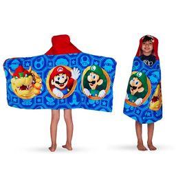 Super Mario Kids Bath and Beach Hooded Towel Wrap, 100% Cotton | Walmart (US)