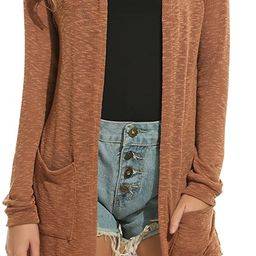 ELESOL Women's Cardigan Sweater, Loose Casual Open Front with Pockets Long Sleeved for Sun-Scre... | Amazon (US)