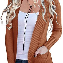 MEROKEETY Women's Open Front Casual Knit Cardigan Classic Long Sleeve Sweater with Pockets | Amazon (US)