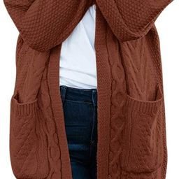 MEROKEETY Women's Cable Knit Batwing Sleeve Chunky Cardigan Open Front Pockets Sweater Coat | Amazon (US)