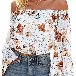 Angashion Women's Tops Sexy Off Shoulder Floral Flare Long Sleeves Printed Cropped Shirt Blouses | Amazon (US)