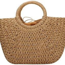 Hand-woven Straw Large Hobo Bag for Women Round Handle Ring Toto Retro Summer Beach Straw Bag | Amazon (US)