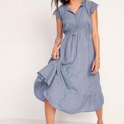 Waist-Defined Crochet-Sleeve Tie-Neck Midi Dress for Women | Old Navy (US)