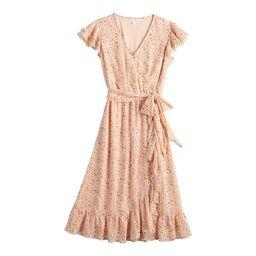 Women's LC Lauren Conrad Ruffle Wrap Midi Dress | Kohl's