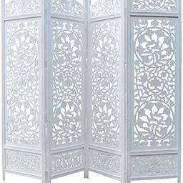 COTTON CRAFT Kamal The Lotus Antique White 4 Panel Handcrafted Wood Room Divider Screen 72x80, In... | Amazon (US)