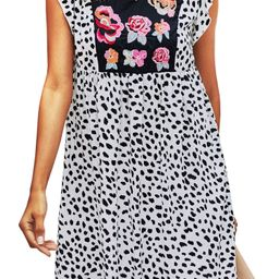 Women's Tunic Dresses Casual Floral Print Embriodered V Neck Cap Sleeve Loose Babydoll Flowy Mini...   Amazon (US)