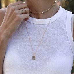 14k Gold Mini Dog Tag Necklace | Tiny Tags