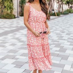 Make Time Last Floral Midi Red Dress | The Pink Lily Boutique
