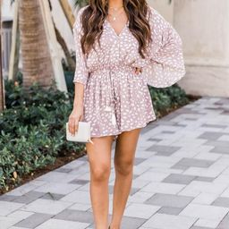Trusting In You Dotted Romper Taupe   The Pink Lily Boutique