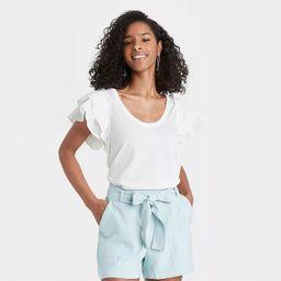 Women's Ruffle Short Sleeve Scoop Neck Mixed Media T-Shirt - A New Day™   Target