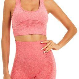 Toplook Women Seamless Yoga Workout Set 2 Piece Outfits Gym Shorts Sports Bra   Amazon (US)