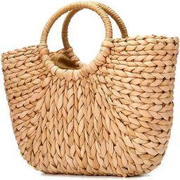 JOSEKO Summer Beach Bag, Women Straw Paper Handbag Top Handle Big Capacity Travel Tote Purse | Amazon (US)