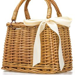 QTMY Bow Rattan Woven Bag Straw Bags Top Handle Handbags Bohemia Style Beach Bag,Beige | Amazon (US)