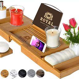 ROYAL CRAFT WOOD Luxury Bathtub Caddy Tray, One or Two Person Bath and Bed Tray, Bonus Free Soap ... | Amazon (US)