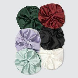 Set of 6 Silk Jumbo Scrunchies   Verishop