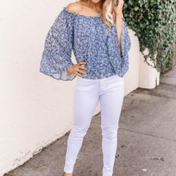 Delicate And Darling Floral Blue Blouse | The Pink Lily Boutique