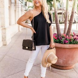 Awaiting Love One Shoulder Black Blouse   The Pink Lily Boutique