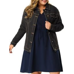 Womens Plus Jean Jacket Plus Size Washed Denim Jacket Coat Outerwear   Walmart (US)