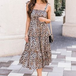 For Your Heart Only Brown Animal Print Midi Dress | The Pink Lily Boutique