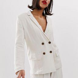 ASOS DESIGN gutsy linen relaxed blazer-Cream   ASOS (Global)
