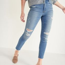 Extra High-Waisted Rockstar 360° Stretch Super Skinny Ripped Cut-Off Jeans for Women | Old Navy (US)