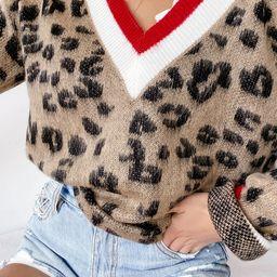 Style Instinct Leopard Print Color Block V-Neck Sweater   Lulus (US)