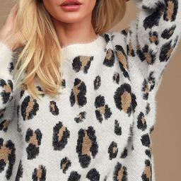 Free Spirited White Leopard Print Eyelash Knit Sweater   Lulus (US)
