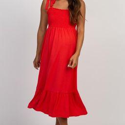 PinkBlush Red Solid Self-Tie Smocked Maternity Midi Dress | PinkBlush Maternity