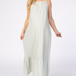 Mint Green Striped High Neck Sleeveless Maternity Maxi Dress | PinkBlush Maternity