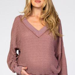Mauve Waffle Knit V-Neck Long Sleeve Maternity Top | PinkBlush Maternity