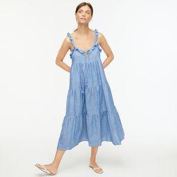Cotton-linen tiered maxi dress   J.Crew US
