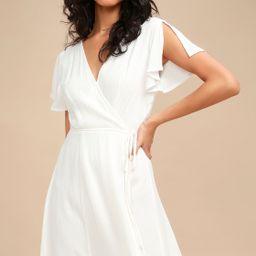 Harbor Point White Wrap Dress | Lulus (US)