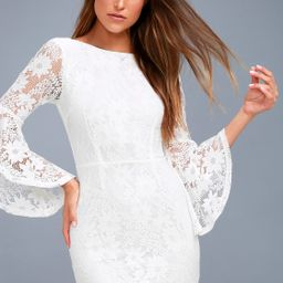 Allure 'Em In White Lace Bell Sleeve Bodycon Dress | Lulus (US)
