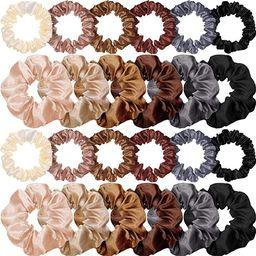 24 Pieces Satin Hair Scrunchies Silk Elastic Hair Bands Skinny Solid Hair Ties Ropes Ponytail Hol...   Amazon (US)